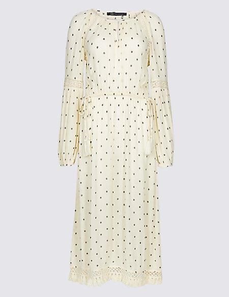 Printed Long Sleeve Fringe Detail Midi Dress