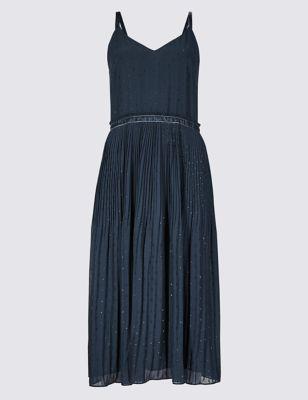 Embellished Skater Midi Dress by Marks & Spencer