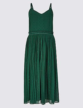 Embellished Skater Midi Dress