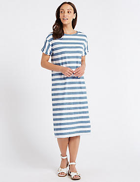 Cotton Rich Striped T-Shirt Midi Dress