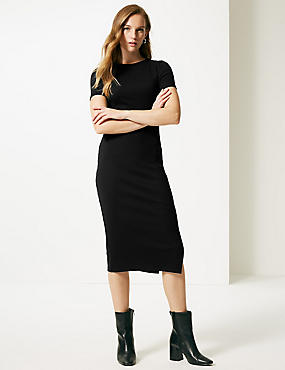 Cotton Rich Textured Bodycon Midi Dress