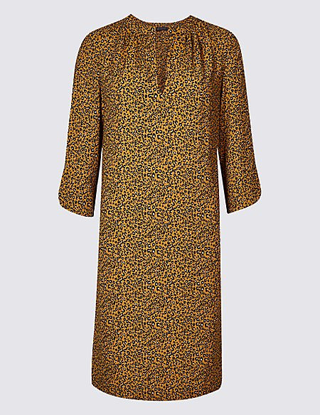 satin animal print tunic midi dress