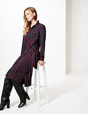 Striped Long Sleeve Shift Midi Dress