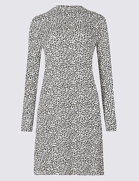 Animal Print Long Sleeve Swing Dress