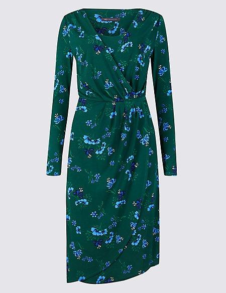 Floral Print Long Sleeve Wrap Midi Dress