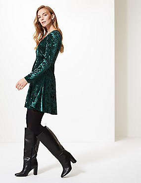 Velvet Long Sleeve Swing Dress