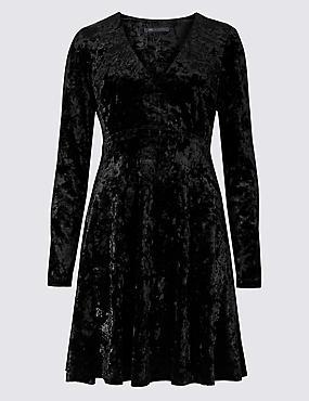 Velvet Long Sleeve Swing Dress