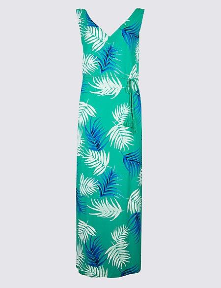 Palm Print Slip Maxi Dress