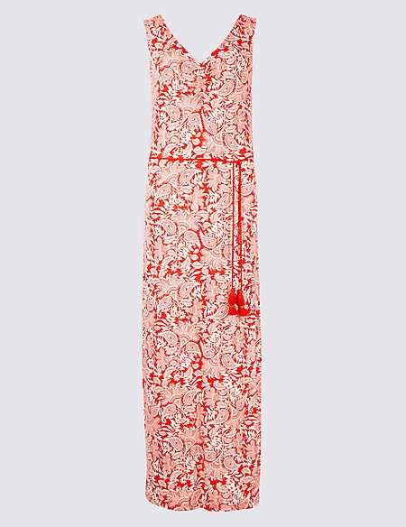 Paisley Print Slip Maxi Dress