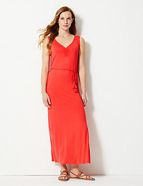 Ruched Front Slip Maxi Dress