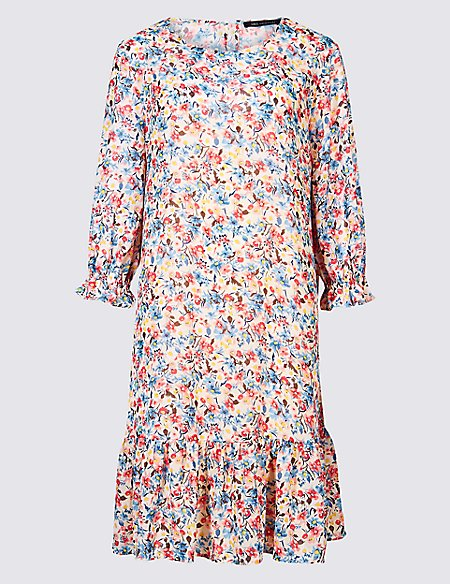 Floral Print 3/4 Sleeve Tunic Dress