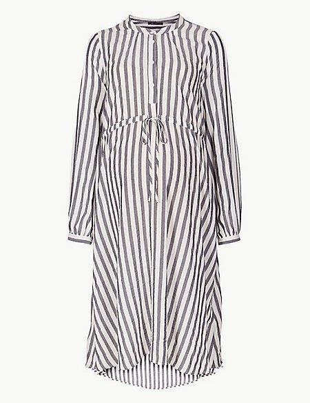 Maternity Striped Shirt Midi Dress