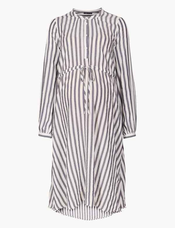 487c1f6d2c1e4c Maternity Striped Shirt Midi Dress