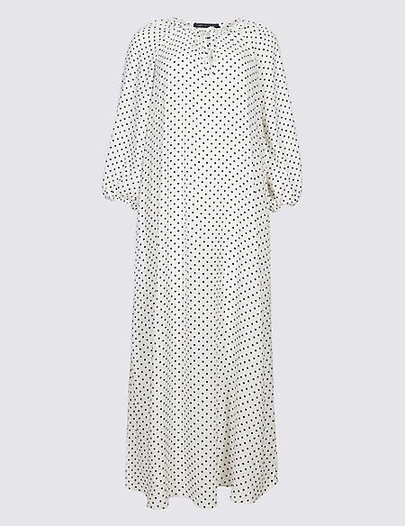 Spotted Long Sleeve Tunic Midi Dress