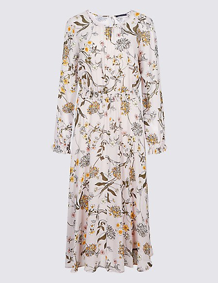 Floral Print Long Sleeve Skater Maxi Dress
