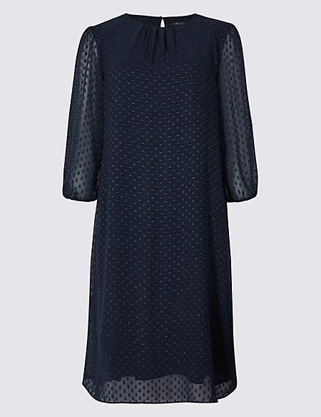 Spotted 3/4 Sleeve Tunic Dress