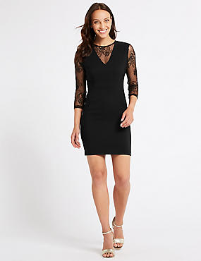 Lace Insert 3/4 Sleeve Bodycon Mini Dress