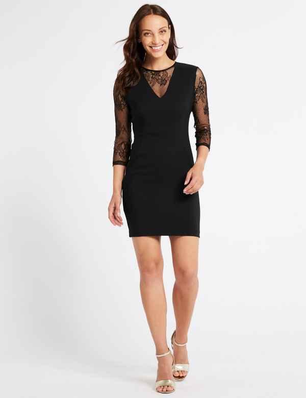c874728aa407 Lace Insert 3 4 Sleeve Bodycon Mini Dress