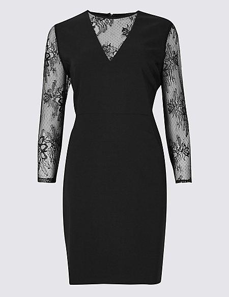 Lace Insert 3/4 Sleeve Bodycon Mini Dress