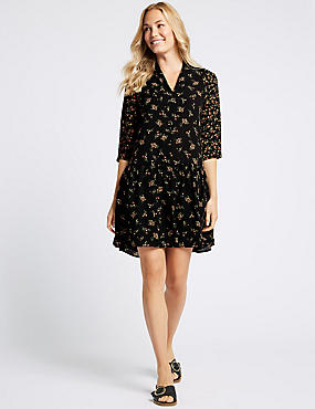 Floral Print Drop Waist Mini Dress