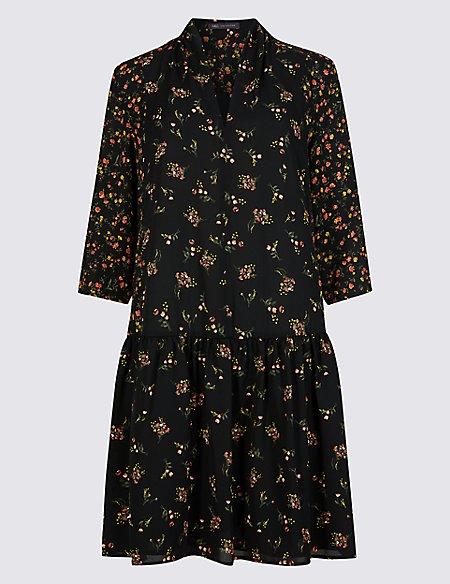 Floral Print Drop Waist Mini Dress