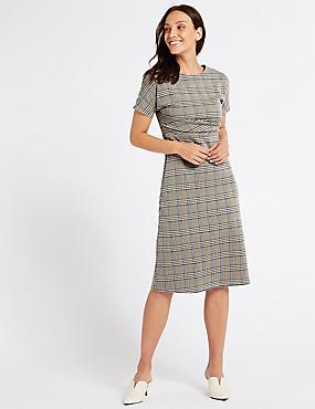 Checked Short Sleeve Skater Midi Dress