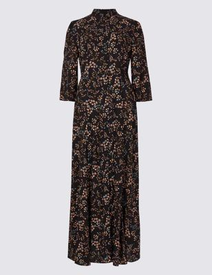 M&S Collection Floral Print Shirt Maxi Dress