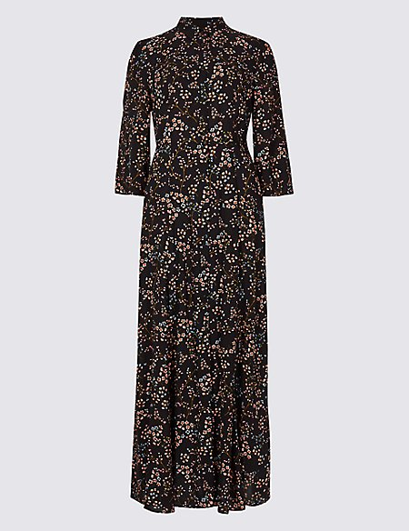 Floral Print 3/4 Sleeve Shirt Maxi Dress