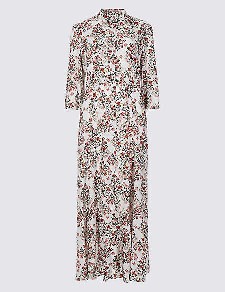 Floral Print 3/4 Sleeve Shirt Maxi Dress