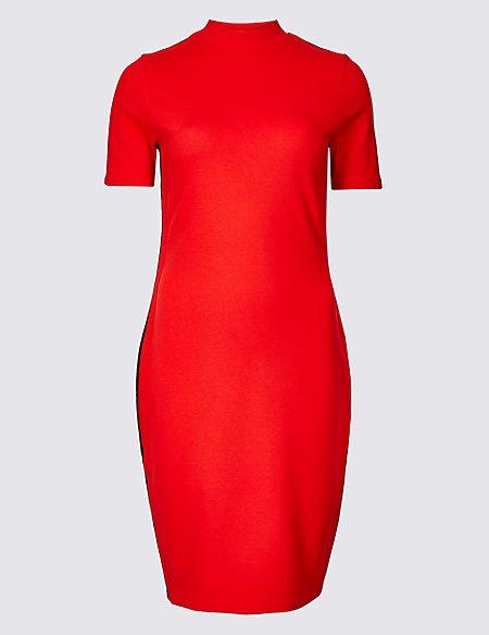 Side Stripe Short Sleeve Bodycon Dress
