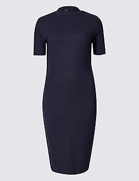 Stripe Side Short Sleeve Bodycon Dress