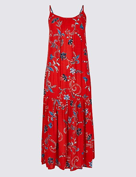 Floral Print Slip Midi Dress
