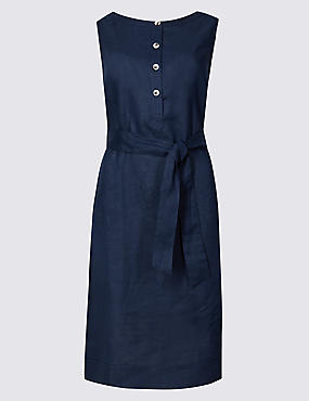 Pure Linen Belted Tunic Dress