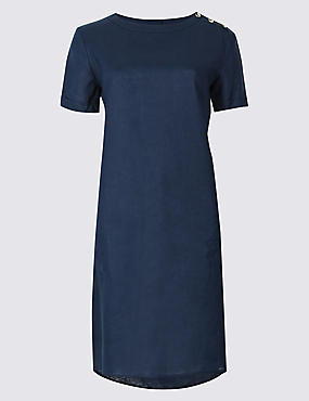 Pure Linen Short Sleeve Tunic Dress