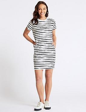 Pure Cotton Striped T-Shirt Dress