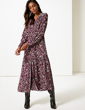 Floral Print Long Sleeve Shirt Maxi Dress