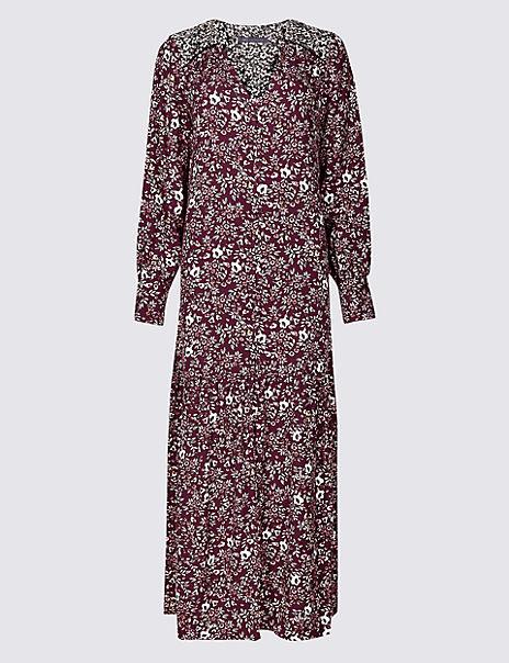 Floral Print Long Sleeve Shirt Maxi Dress