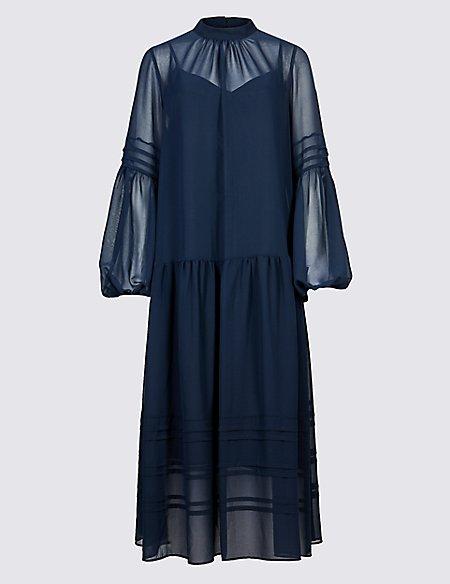 Long Sleeve Drop Waist Midi Dress