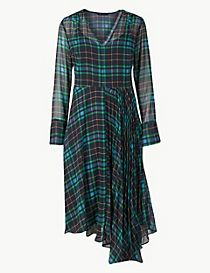 Checked Fit & Flare Midi Dress