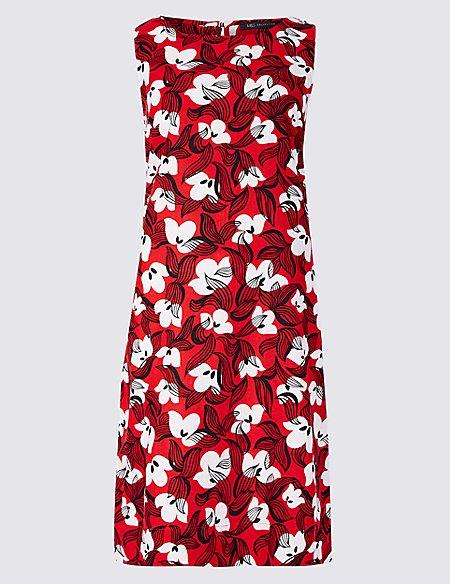 Linen Blend Floral Print Tunic Dress