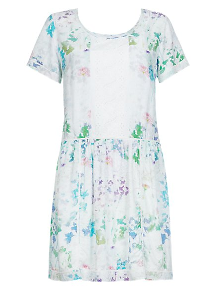 Blurred Floral Tunic Dress with Camisole
