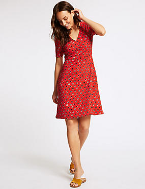 Floral Print Jersey Half Sleeve Tea Dress