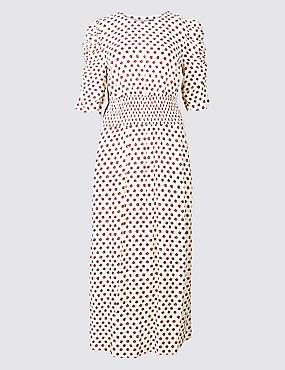 Floral Print Half Sleeve Swing Midi Dress