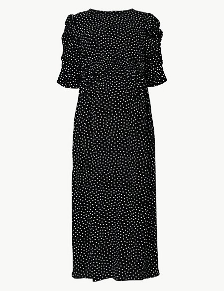 Maternity Polka Dot Waisted Midi Dress