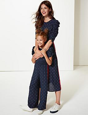 Star Print Half Sleeve Swing Midi Dress