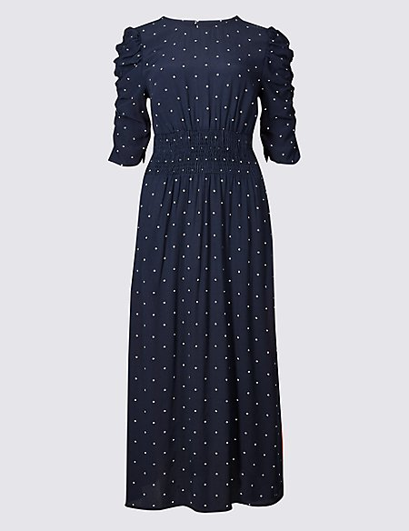 Star Print Half Sleeve Swing Midi Dress