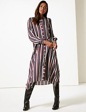 Striped Long Sleeve Shirt Midi Dress