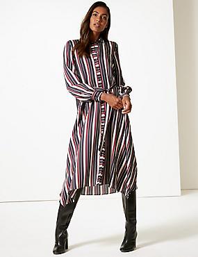 Striped Long Sleeve Shirt Midi Dress
