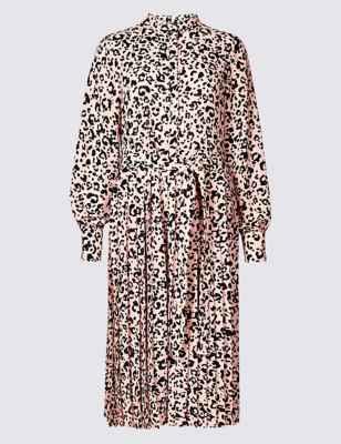 Animal Print Long Sleeve Shirt Dress