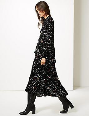 Floral Print Drop Waist Maxi Dress